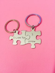 I love you I Know keychains, Valentines Gift, Couples Keychains, Anniversary Gift, Puzzle Piece Keychain Set, Couples Gift, Stainless Steel