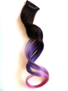 Clip In Hair Extension, Ombre Violet Purple  Light Pink, 18 inches, Dip Dye Pastel Hair Color. $14.00, via Etsy.