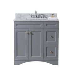 Virtu USA Elise 36 in. W x 22 in. D Vanity in Grey with Marble Vanity Top in White with White Basin ES-32036-WMSQ-GR-NM at The Home Depot - Mobile