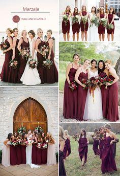 vestidos de dama de honor Marsala para bodas de la caída de 2015