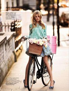 .I want this bike basket! AND the pink hat boxes :-)