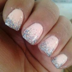 Soft pink with silver sparkle.  Gold sparkle would be pretty too