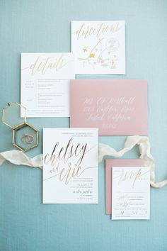 Chelsey Wedding Invitation Suite with Foil Dusty Rose Wedding, White Wedding Bouquets, Floral Wedding, Wedding Ring, Ivory Wedding Invitations, Wedding Stationary, Blush And Gold, Card Envelopes, Ivoire