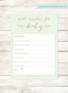 Wishes for baby template that i created for a baby shower that my wishes for baby shower printable diy mint green gold glitter baby gender neutral well wishes for maxwellsz