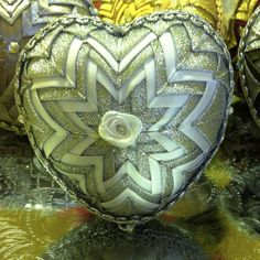 quilted silver-white christmas decoration - heart, handmade