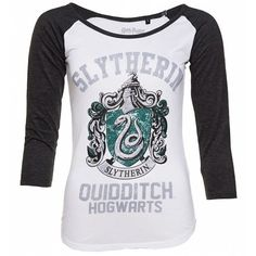Women's Harry Potter Slytherin Crest Long Sleeve Baseball T-Shirt ($29) ❤ liked on Polyvore featuring tops, t-shirts, longsleeve t shirts, longsleeve tee, long sleeve tees, long sleeve tops and baseball style tees
