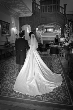 Bride and her father in the hallway of Nunsmere Hall Mermaid Wedding, Wedding Venues, Father, Wedding Photography, Bride, Wedding Dresses, Fashion, Wedding Reception Venues, Pai