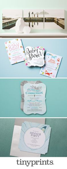 Your baby blue and mint stationery inspiration is here. From baby showers, religious invitations, to adult party invitations, Tiny Prints has stationery for all life's occasions.