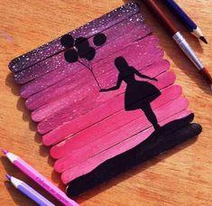 creative gift ideas original gifts wood paint girl with balons - Basteln - DIY CRAFT Craft Stick Crafts, Diy And Crafts, Crafts For Kids, Craft Sticks, Diy Crafts For Teen Girls, Arts And Crafts For Teens, Easy Crafts, Teen Summer Crafts, Art And Craft