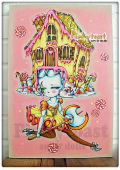Original Painting-Gingerbread Candy Dancer-Gothic Big Eyed Ballet Fairy Tale Girl-12x18 Canvas-Pinkytoast Art. $265.00, via Etsy.