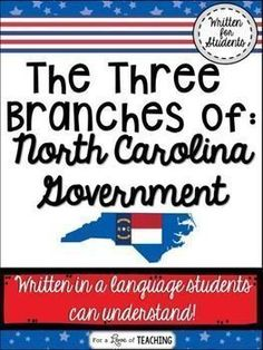 The Three Branches of North Carolina Government - This product introduces students to the three branches of NC government - Legislative, Executive, and Judicial, as well as, a comparison to our state and national government. Each branch is broken down into terms students can easily understand.