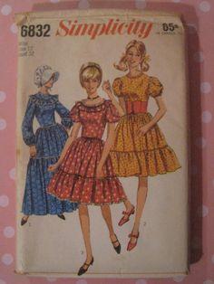 Vintage Prairie Dress Pattern 1966
