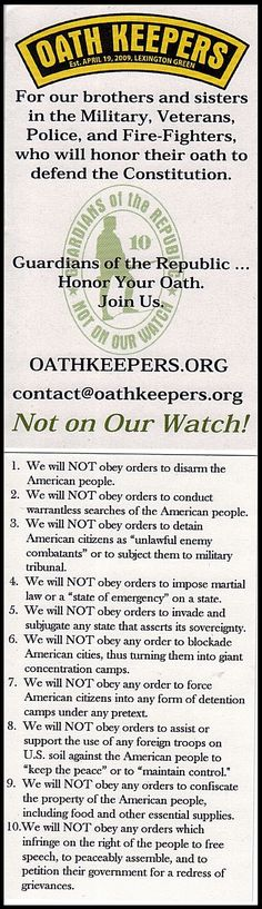 """Does anyone know if this statement is true? """"Oath Keepers organization was specifically created by the CIA in order to spark a civil war in America. In short, its members take an oath to uphold the U.S. Constitution while the Obama administration openly violates said Constitution. Needless to say, an armed conflict is the next step."""""""