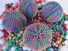 Knitting Giant Mardi Gras Bead Balls