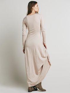 Solid Color V-neck Floor Maxi Dress