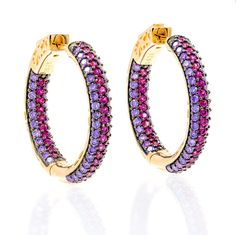 ZDE1860-PR-RG  STERLING SILVER 925 TWO COLOR CZ HOOPS