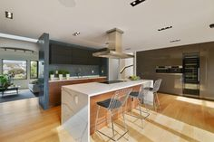 This San Francisco home includes a Miele chef's kitchen with Euro-inspired cabinetry.