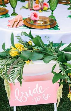Pink & Yellow Tropical Bridal Shower Brunch , Pink & Yellow Tropical Bridal Shower - Inspired by This. Luau Bridal Shower, Bridal Shower Centerpieces, Bridal Shower Rustic, Bridal Shower Favors, Bridal Shower Chair, Floral Centerpieces, Wedding Reception Themes, Wedding Ceremony, Wedding Bells