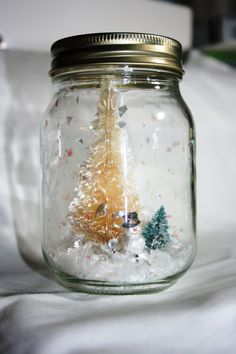 Mason Jar Snow Globe with Trees and Snowman by NeverlandSeeker, $15.00