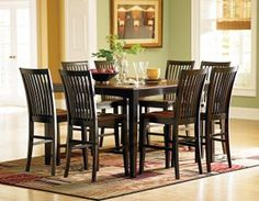 This will hopefully be sitting in my dining room soon! The counter height table and chairs, the colors, and the design is so versatile.