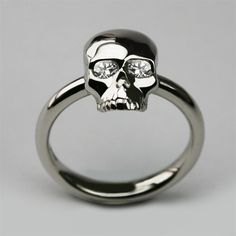 Bespoke Small Skull Ring in Platinum with Diamond Eyes. www.StephenEinhorn.co.uk