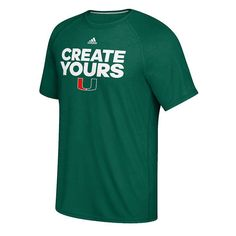 Men's Adidas Miami Hurricanes March Madness Create Yours Tee, Green