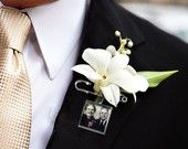 Groom Boutonniere Photo Memory Charm