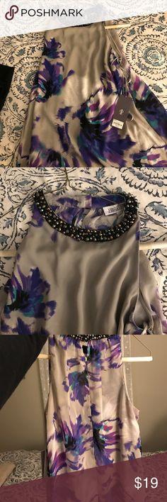 J lo glitter tank top work casual Grey and purple silk satin Jennifer Lopez top Jennifer Lopez Tops Blouses