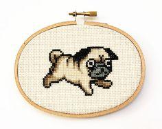 Pug Cross Stitch Pattern by TheStrandedStitch on Etsy