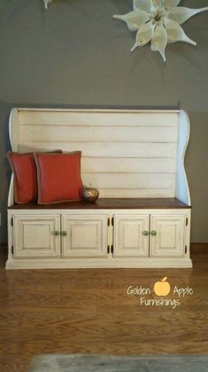 Entertainment center up-cycle into bench