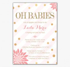 Twins Girls Baby Shower Invitations - Printed, Pink Gold Gender Neutral Confetti Glitter Floral Oh Babies Couples Striped - chitrap.etsy.com