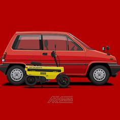 City R & Motocompo Merch @redbubble  #Hondamotocompo #motocompo #city #hondacity #jdm #ARVwerks #vector #illustration #carart
