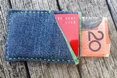Slim Carry Wallet - Sleek Denim Wallet - Compact Denim Wallet - Gift for Men - Slim Fabric Wallet - Credit Card Wallet - Cool Slim Wallet by MayCheang on Etsy