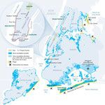 New York City: a plan against flooding. Map created by Hugues Piolet for GEO Magazine.