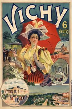Original, turn of the century travel poster VICHY by artist:   Sala.   See more antique original posters at  www.TheVintagePoster.com