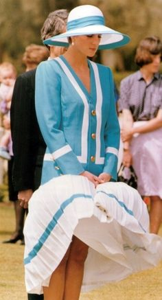 Princess Diana having a Blue & White Marilyn Monroe moment.