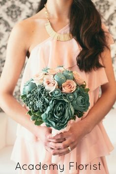 Blush Pink and Mint Wedding #bouquet by @Academy Florist - using beautiful quicksand roses, tissue peonies, and died  elements!