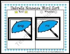 Umbrella Nonsense Word Fluency Center from Can You Read It on TeachersNotebook.com (17 pages)