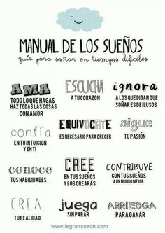 Pieces of a dream: Manual de los sueños by Mr Wonderful, The Words, More Than Words, Spanish Quotes, Sentences, Favorite Quotes, Me Quotes, Inspirational Quotes, Motivational
