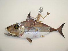 By Stefano Pilato Livorno Metal Fish, Wooden Fish, Domino Art, Fish Sculpture, Cottage Art, Fish Crafts, Found Object Art, Junk Art, Fish Design
