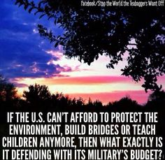 If the U.S. can't afford to protect the environment, build bridges or teach children anymore, then what exactly is defending with its military's budget?