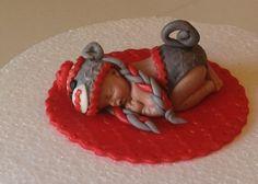 This is a very good wedding dress website. Sock Monkey Cakes, Sock Monkey Baby, Monkey Hat, Baby Cake Topper, Fondant Cake Toppers, Fondant Baby, Cupcake Toppers, Baby Mold, Cupcakes