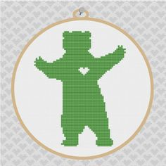 Bear Silhouette Cross Stitch PDF Pattern I by kattuna on Etsy, $3.50