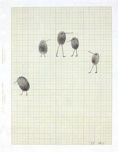 Saul Steinberg's fingerprint birds, 1951  Image taken from Saul Steinberg, L'écriture visuelle, catalogue des Musées de la ville de Strasbourg, 2009.  via Vintage for Kids
