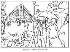 Coloriage Gustave Caillebotte Rue de Paris