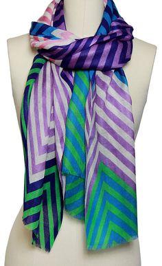 Zig Zag Striped Scarf, Turquoise | Summer Warehouse Sale  | One Kings Lane $55