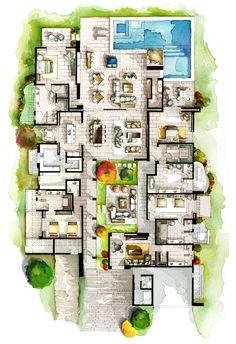 Real Estate Watercolor Floor Plans Part 5 on Behance Floor Plan Sketch, Floor Plan Drawing, Floor Plan Rendering, Sims House Plans, House Floor Plans, Mansion Floor Plans, School Floor Plan, Rendered Plans, Hotel Floor Plan
