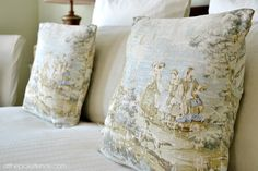 toile bedroom pillows