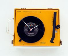 Recycled Sears record player clock