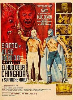 Obscure Mexican movie poster: Santo and Blue Demon vs. Dracula and the Wolfman from 1973 Horror Movie Posters, Movie Poster Art, Film Posters, Horror Movies, Cult Movies, Dracula, Blue Demon, Roman Photo, Science Fiction